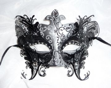 Venetian Style Black  & Silver Metal Overlay Mask (other colours avail)